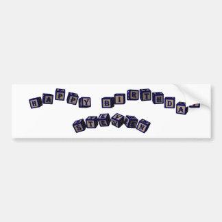 Happy Birthday Steven toy blocks in blue Bumper Sticker