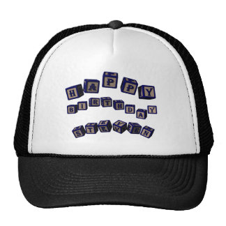 Happy Birthday Steven toy blocks in blue Trucker Hat