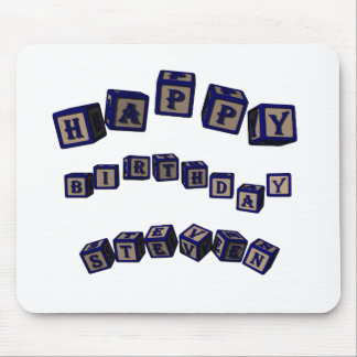 Happy Birthday Steven toy blocks in blue Mouse Pad
