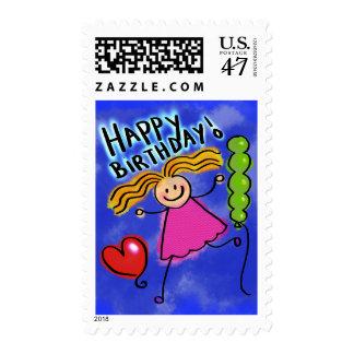 Happy Birthday Stick Girl Kids Cartoon Stamp
