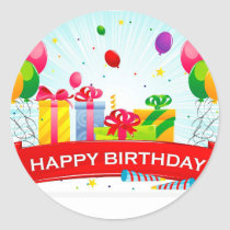 happy birthday Sticke Classic Round Sticker