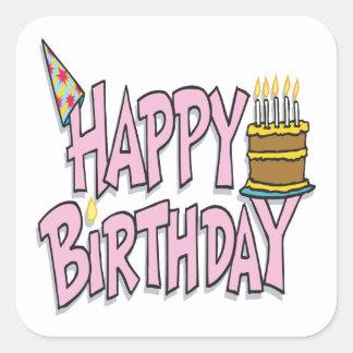 Happy Birthday Square Stickers