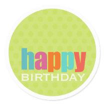 Happy Birthday Sticker2 Classic Round Sticker