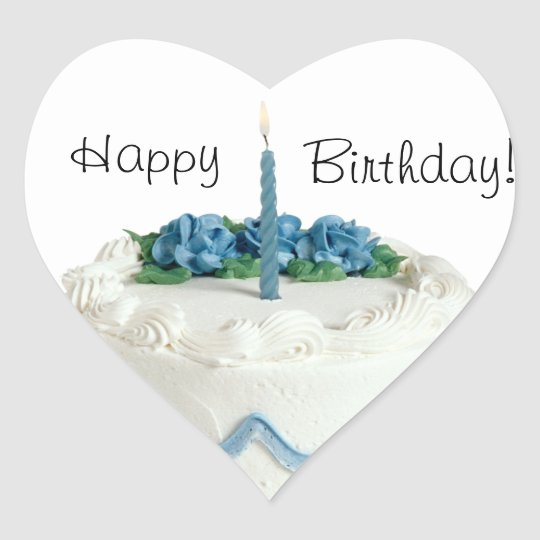 HAPPY BIRTHDAY STICKER BLUE AND WHITE W ONE CANDLE