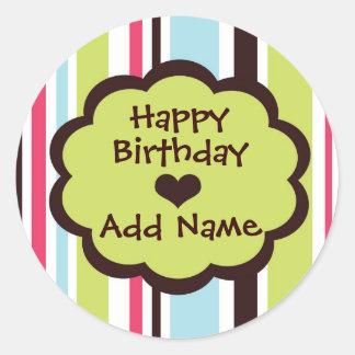 Happy Birthday Sticker in Funky Stripe