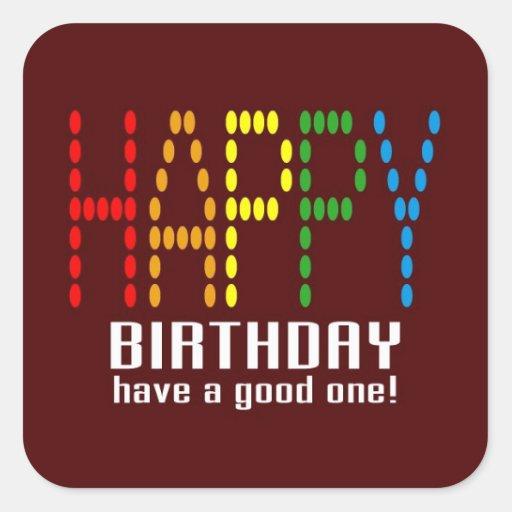 Happy birthday sticker pegatina cuadrada