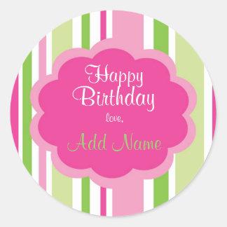 Happy Birthday Sticker  Pink and Green