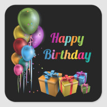 Happy Birthday sticker square