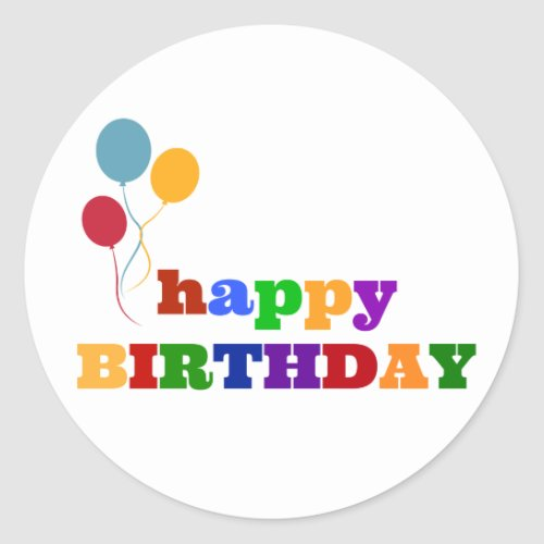 Happy Birthday Stickers Colorful Balloons