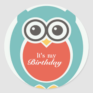 Happy Birthday Stickers Cute Baby Owl Cartoon