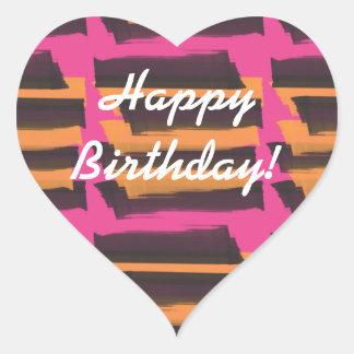 Happy Birthday Stickers Orange Pink