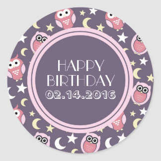 Happy Birthday Stickers Pink and Purple Night Owl