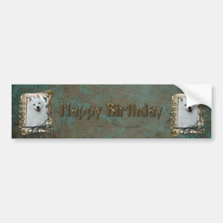 Happy Birthday - Stone Paws - American Eskimo Bumper Sticker