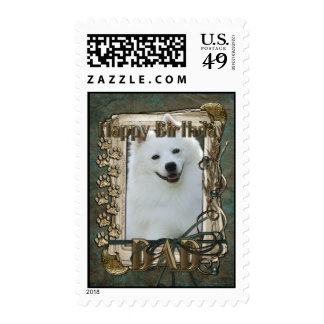Happy Birthday - Stone Paws - American Eskimo -Dad Postage Stamps