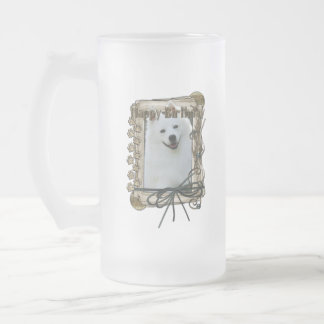 Happy Birthday - Stone Paws - American Eskimo Frosted Glass Beer Mug