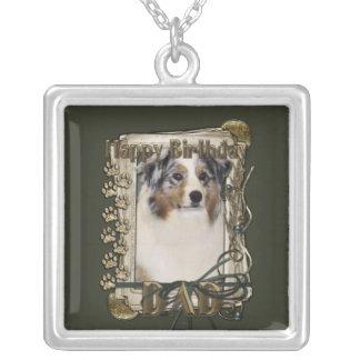 Happy Birthday -Stone Paws Australian Shepherd Dad Necklace