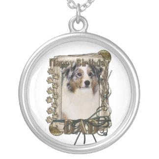 Happy Birthday -Stone Paws Australian Shepherd Dad Custom Necklace