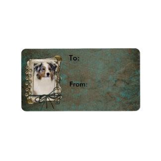 Happy Birthday - Stone Paws - Australian Shepherd Label