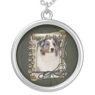 Happy Birthday - Stone Paws - Australian Shepherd Personalized Necklace
