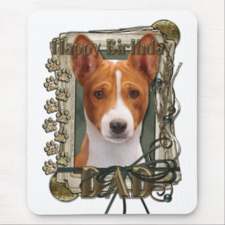 Happy Birthday - Stone Paws - Basenji - Dad Mouse Pad