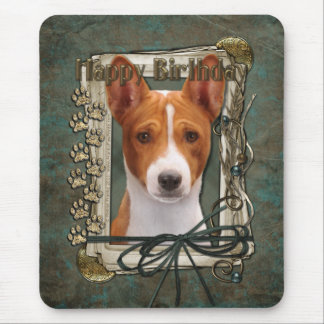 Happy Birthday - Stone Paws - Basenji Mouse Pad