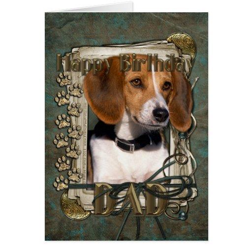 Happy Birthday - Stone Paws - Beagle - Dad Card