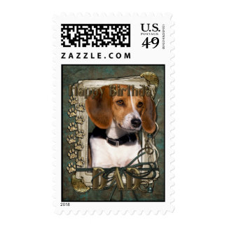 Happy Birthday - Stone Paws - Beagle - Dad Postage Stamps