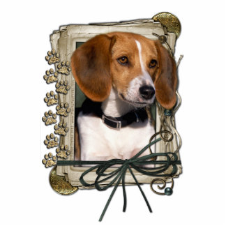 Happy Birthday - Stone Paws - Beagle Standing Photo Sculpture