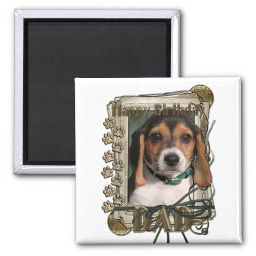 Happy Birthday - Stone Paws - Beagle Puppy - Dad Magnet