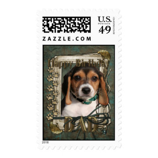 Happy Birthday - Stone Paws - Beagle Puppy - Dad Postage Stamp