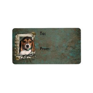 Happy Birthday - Stone Paws - Beagle Puppy Label