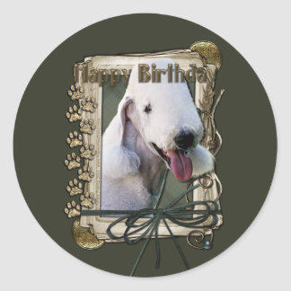 Happy Birthday - Stone Paws - Bedlington Terrier Classic Round Sticker