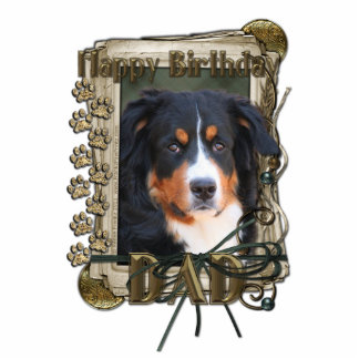 Happy Birthday - Stone Paws - Bernese Mountain Dad Standing Photo Sculpture