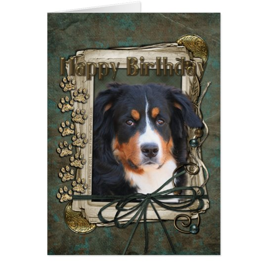 Happy Birthday - Stone Paws - Bernese Mountain Dog Card