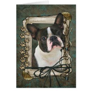 Happy Birthday - Stone Paws - Boston Terrier Card