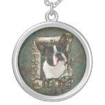 Happy Birthday - Stone Paws - Boston Terrier - Dad Round Pendant Necklace