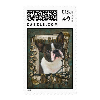 Happy Birthday - Stone Paws - Boston Terrier - Dad Postage Stamps