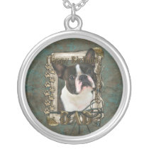 Happy Birthday - Stone Paws - Boston Terrier - Dad Silver Plated Necklace