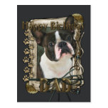 Happy Birthday - Stone Paws - Boston Terrier Postcard