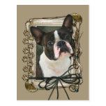 Happy Birthday - Stone Paws - Boston Terrier Post Cards