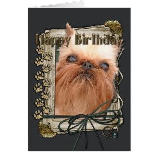 Happy Birthday - Stone Paws - Brussels Griffon Card