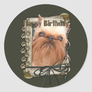 Happy Birthday - Stone Paws - Brussels Griffon Classic Round Sticker