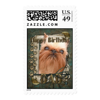 Happy Birthday - Stone Paws - Brussels Griffon Dad Postage Stamp