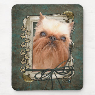 Happy Birthday - Stone Paws - Brussels Griffon Mouse Pad