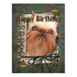 Happy Birthday - Stone Paws - Brussels Griffon Postcard