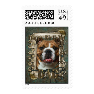 Happy Birthday - Stone Paws - Bulldog - Dad Postage Stamps