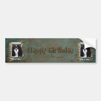 Happy Birthday - Stone Paws - Cavalier Car Bumper Sticker