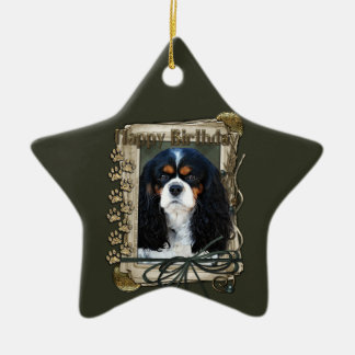 Happy Birthday - Stone Paws - Cavalier Ceramic Ornament