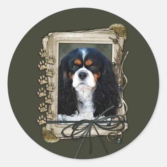 Happy Birthday - Stone Paws - Cavalier Classic Round Sticker
