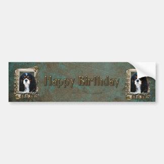 Happy Birthday - Stone Paws - Cavalier - Dad Car Bumper Sticker